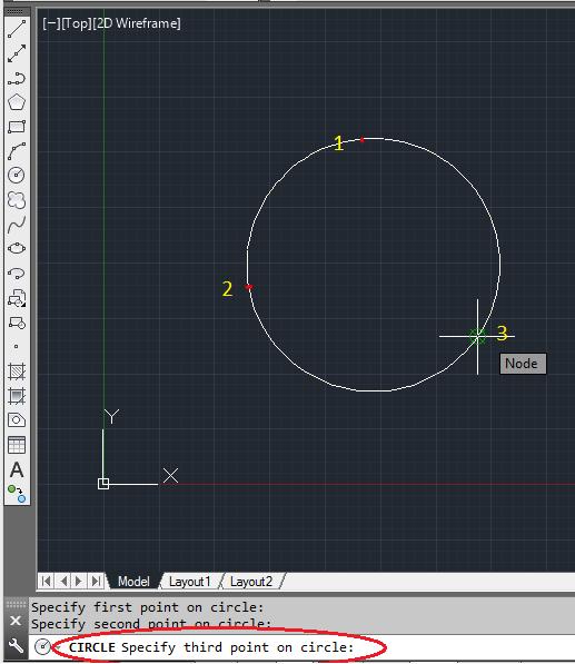 तीन Click करें तो Circle उन्ही तीन Points(3P) पर Draw हो जाएगा