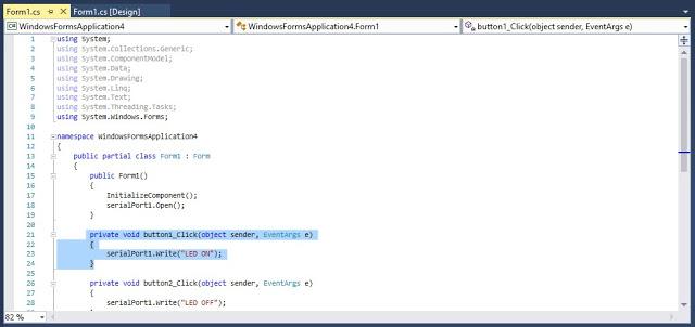 Button और SerialPort1 हमने Window form में Use कर लिए है अब Serial port के जरिये हम Arduino uno से कैसे Communicate करेंगें