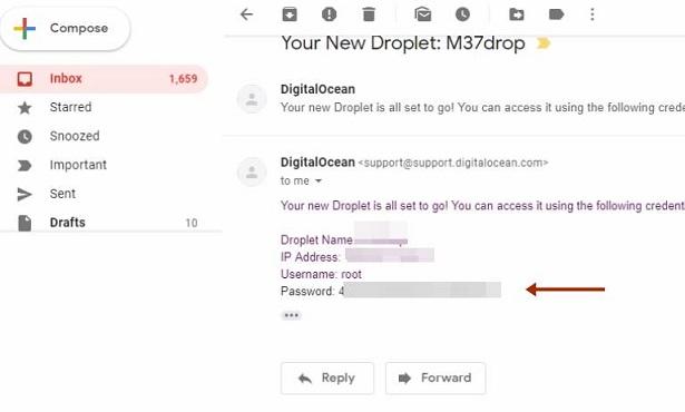 email डिजिटल ओसियन के लिए पासवर्ड