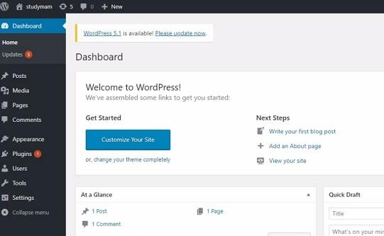 wordpress डैशबोर्ड