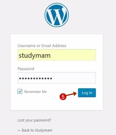 wordpress वेबसाइट डैशबोर्ड पर login